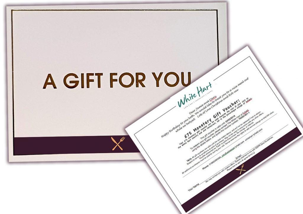 White hart ironbridge gift voucher sample